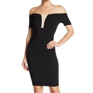 Jump apparel NWT black off shoulder mesh dress 1/2